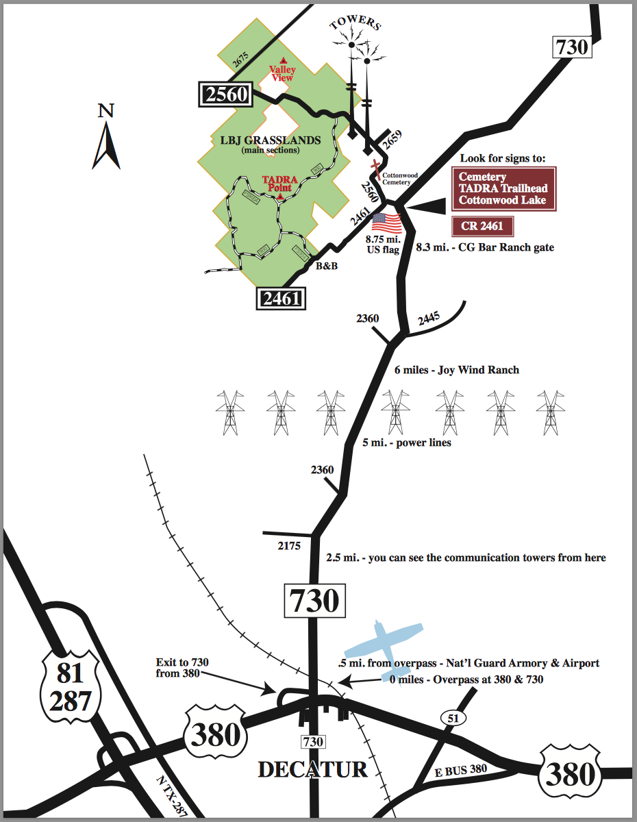 Map from Decatur to LBJ Grasslands texas trails where the trails are  at panicattacktreatment.co