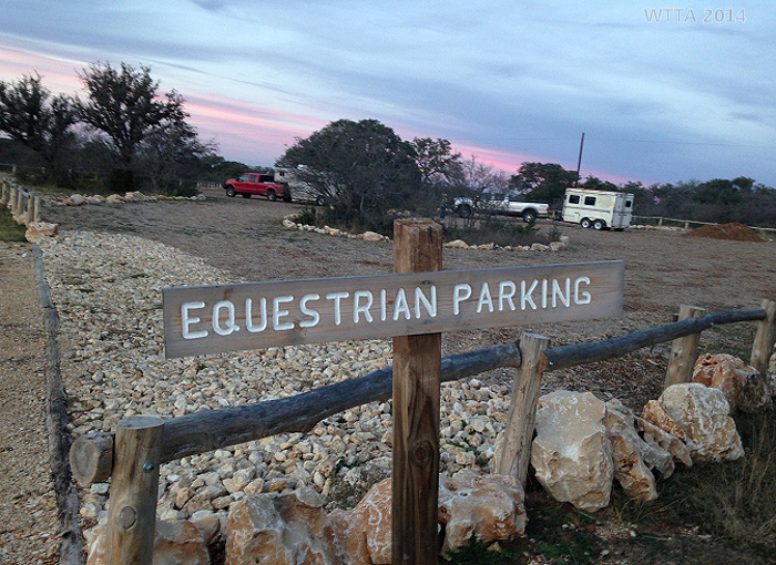 The Equestrian Parking area has been updated. Now there is a sign, gravel, soft footing, wood railings, and an additional picnic area.