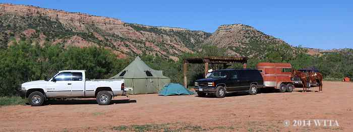Equestrian campsite at Palo Duro Canyon State Park.
