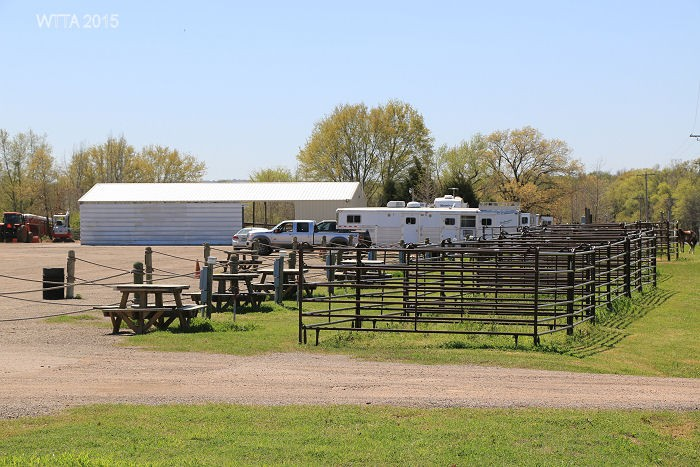 Equestrian electric/water campsites with pens.