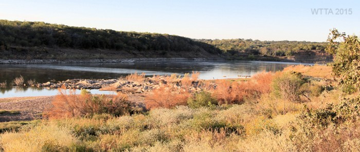 View of Lake Travis which is fed by the Colorado River from Shaffer Bend Campsites 15 - 26.
