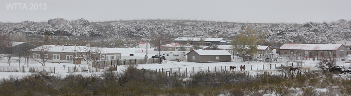 Sauceda Headquarters covered in snow.