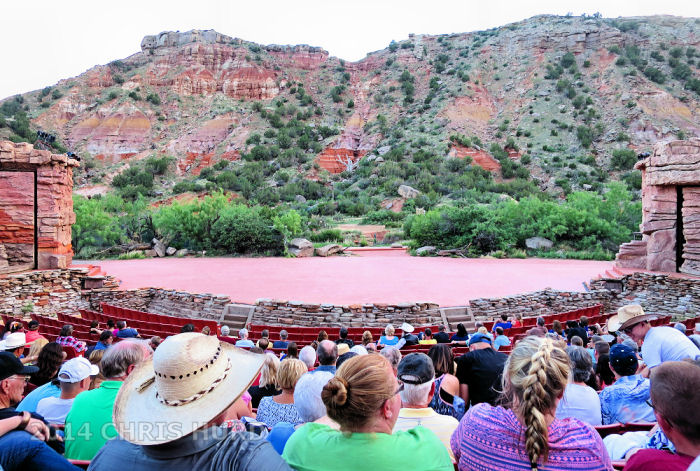 The stage of Texas, a musical drama which runs during the summers in the Pioneer Amphitheater at Palo Duro Canyon State Park.