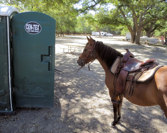There is a porta potty at sites 15 - 26 but no hitching post, so you have to have your horse potty trained.