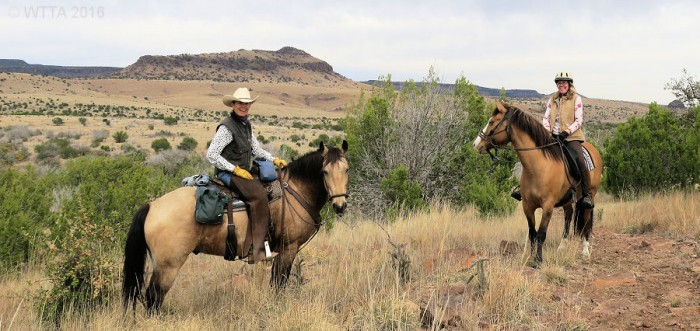 Pilar Pedersen and Kelly Hurd enjoying the Davis Mountains' view on their sure footed horses.